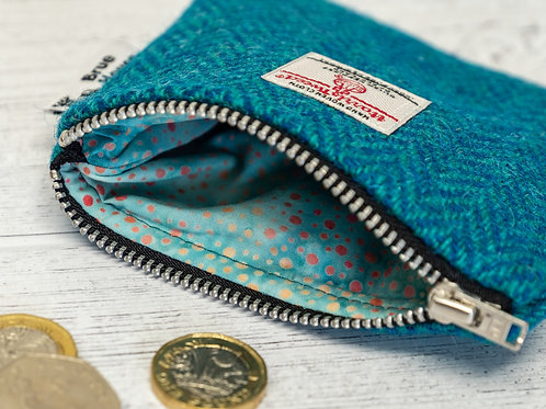 Teal & Turquoise Herringbone Harris Tweed Coin Purse