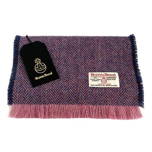 Lilac & Blue / Pink Herringbone Harris Tweed Luxury Fringed Scarf