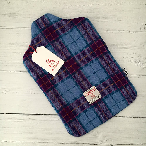 Bright Blue and Purple Tartan Harris Tweed Hot Water Bottle Cover