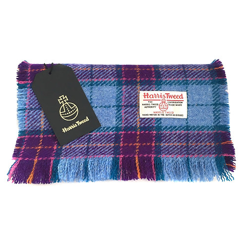 Bright Blue & Purple Tartan Check Harris Tweed Luxury Fringed Scarf