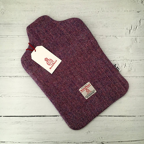 Lilac and Blue / Pink Herringbone Harris Tweed Hot Water Bottle Cover