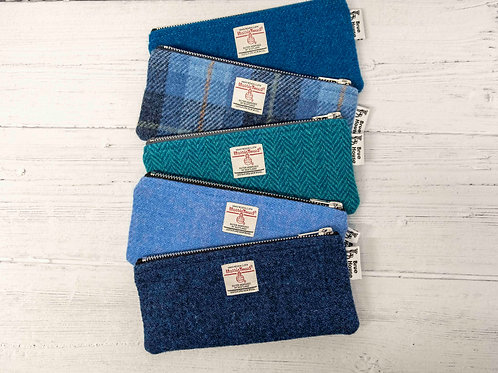 Harris Tweed Pencil Case - Blues