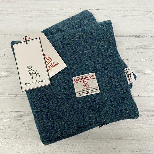 Peacock Blue/Green Harris Tweed Cushion Cover