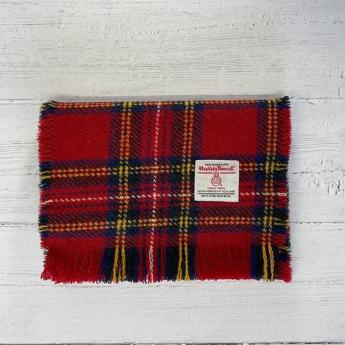 Red Tartan Harris Tweed Luxury Fringed Scarf.