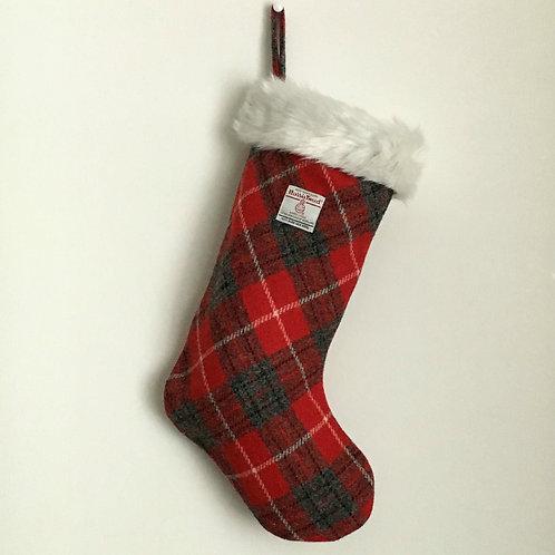 Red & Grey Tartan Harris Tweed Christmas Stocking