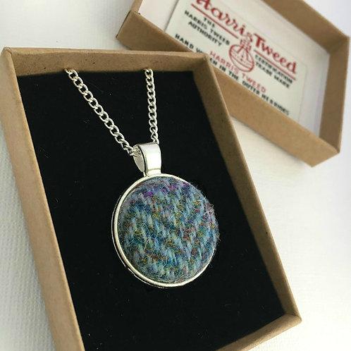 Rainbow Blue Herringbone Harris Tweed Necklace