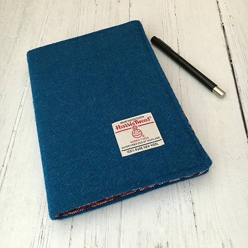 Kingfisher Blue Harris Tweed Padded A5 Notebook Cover