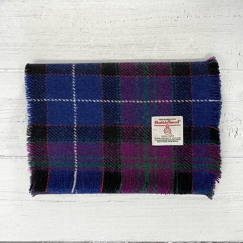 Navy & Pink Western Isles Tartan Harris Tweed Luxury Fringed Scarf