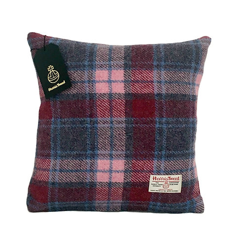 Raspberry & Baby Pink Tartan Check Harris Tweed Cushion Cover