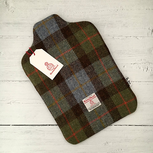 Hunting MacLeod Green & Blue Tartan Harris Tweed Hot Water Bottle Cover