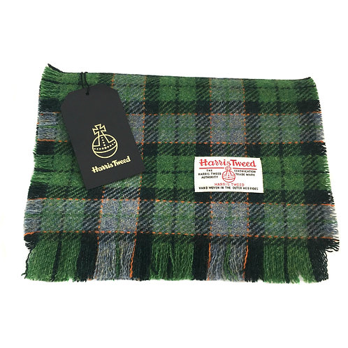 Green & Blue Harris Tweed Tartan Check Luxury Fringed Scarf