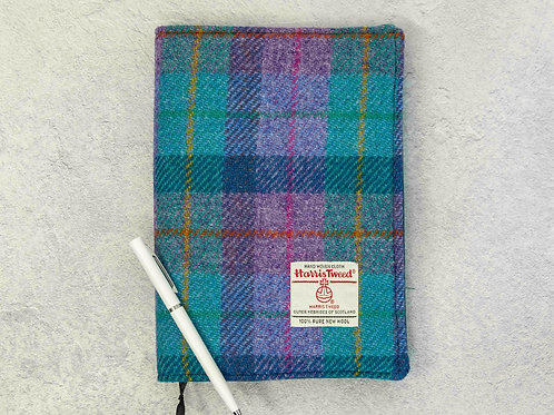 Violet & Kingfisher Tartan Harris Tweed Padded A5 Notebook Cover