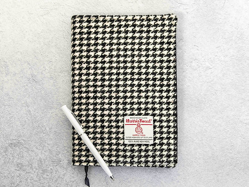 Black and White Houndstooth Harris Tweed Padded A5 Notebook Cover
