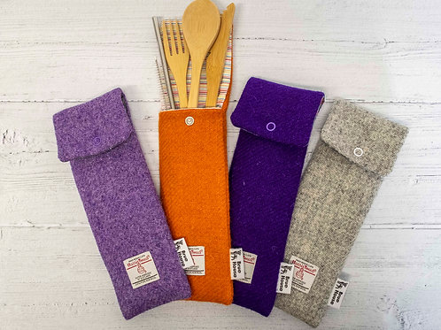 Harris Tweed Cutlery Pouches - Plains