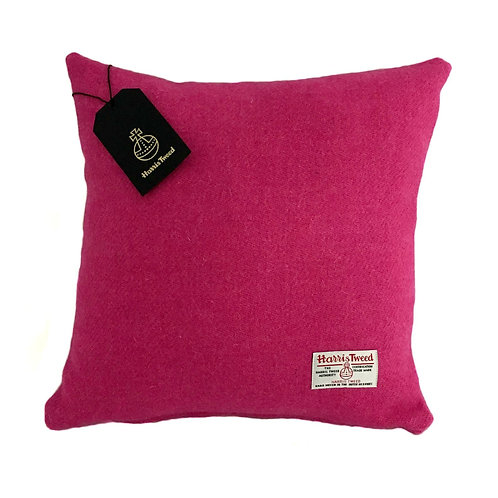 Bright Pink Harris Tweed Cushion Cover