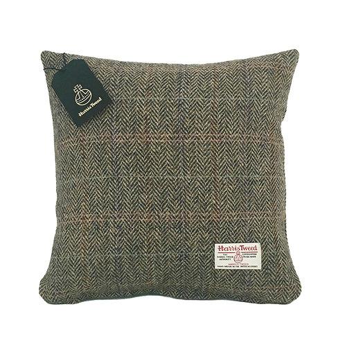 Brown Rainbow Herringbone Harris Tweed Cushion Cover