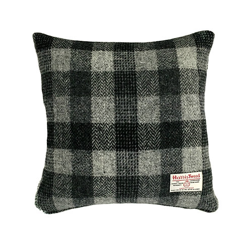 Black and Grey Check Harris Tweed Cushion Cover