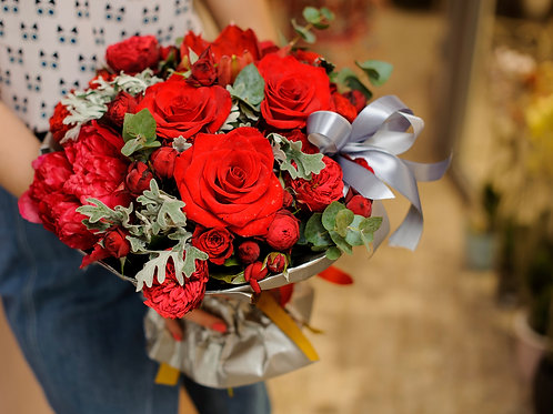 Hand tied bouquet of red roses