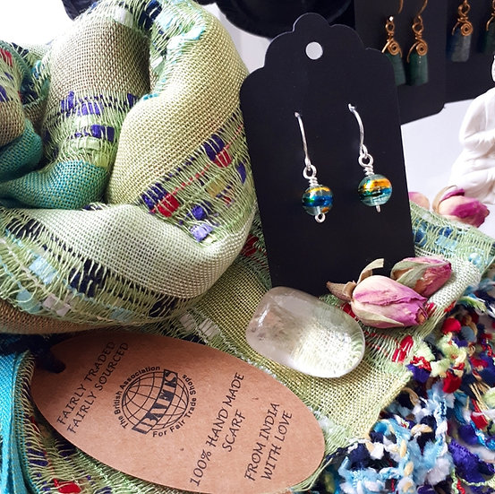 Lime Green Scarf and Earring Set