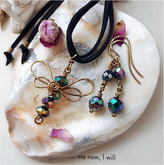 Crystal Dragon Pendant and Earring Set