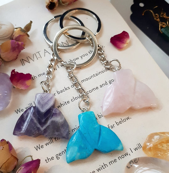 Crystal Whale Tail Keyrings