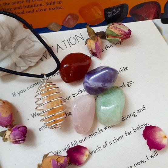 Healing Crystal Spiral Pendant Set