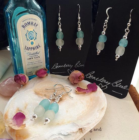 Bombay Blue Gin Bottle Earrings