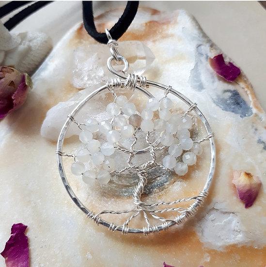 White Moonstone Tree of Life Pendant