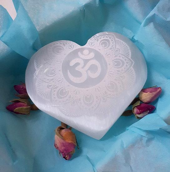Selenite Heart Om Mandala