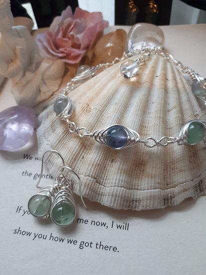 Fluorite Crystal Herringbone Weave Bracelet and Earring Set