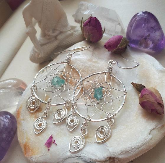 Blue Apatite Dreamcatcher Earrings