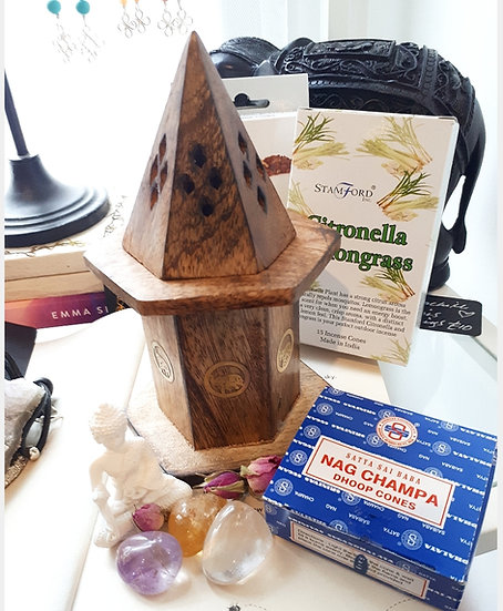 Pyramid Mini Incense House with incense cones