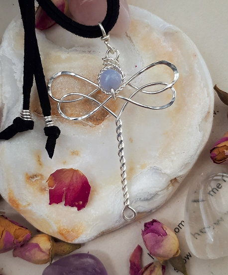 Blue Lace Agate Dragonfly Pendant