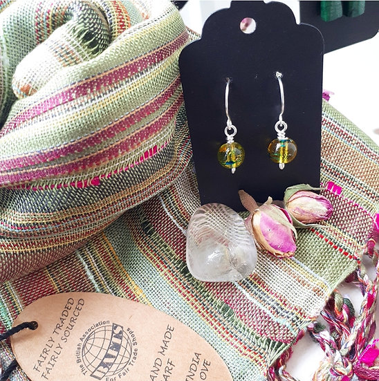 Pale Green Scarf and Earring Set