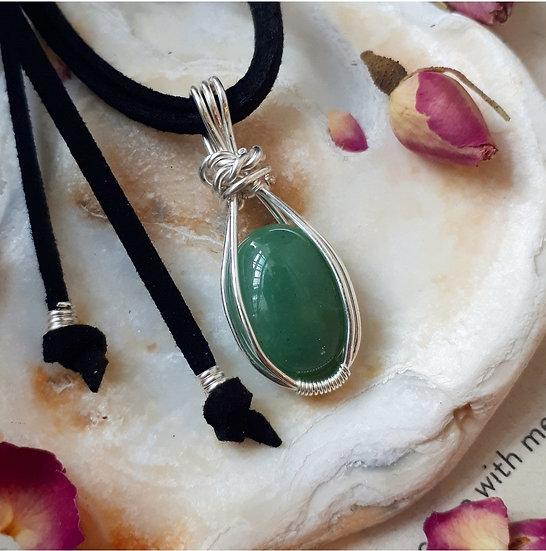 Green Aventurine pendant in filled silver
