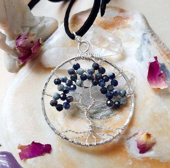 Blue Sapphire Tree of Life Pendant