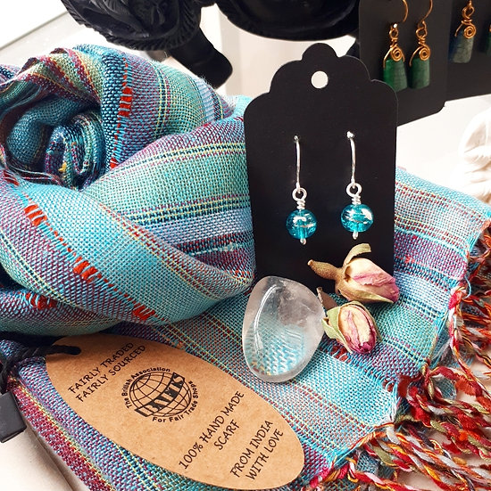 Bright Blue Scarf and Earring Set