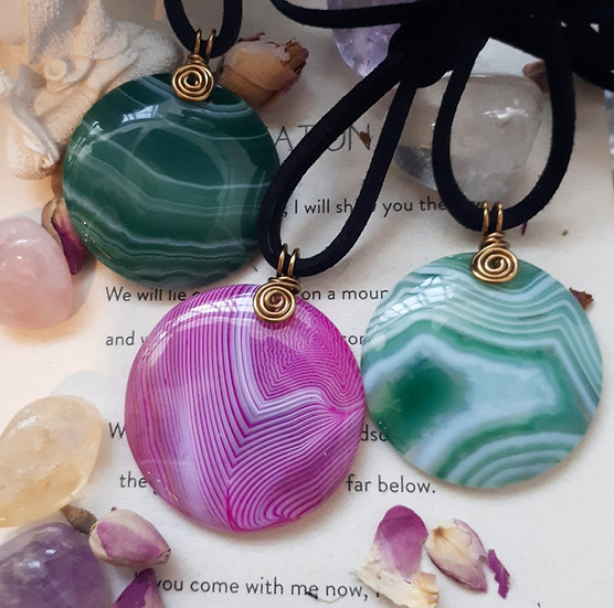 Banded Agate Pendants in Antique Bronze