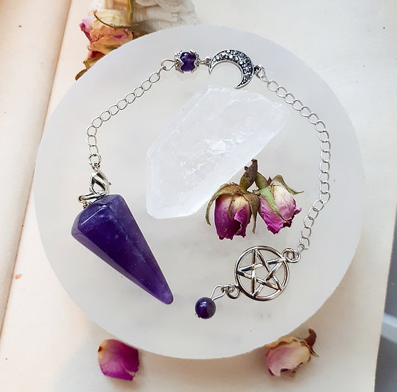 Amethyst Pendulum with Selenite Charging Plate set