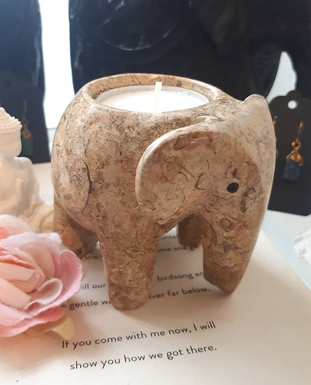 Fossilstone Elephant Tealight