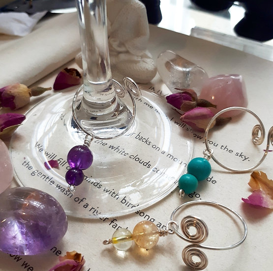 Chakra Crystal Wine Glass Charms