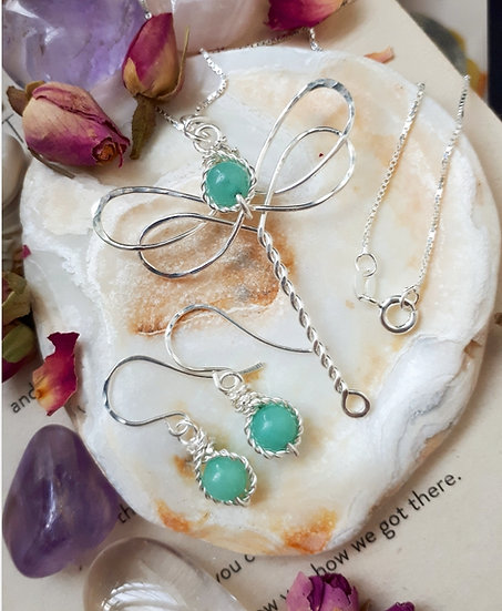 Quartzite Dragonfly necklace and Earring set