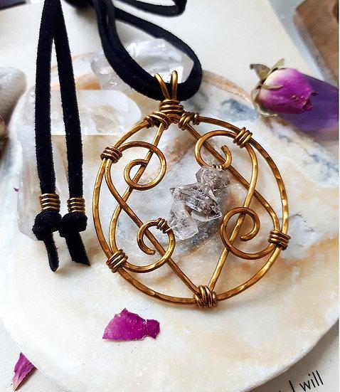 Herkimer Diamond Hearts Pendant