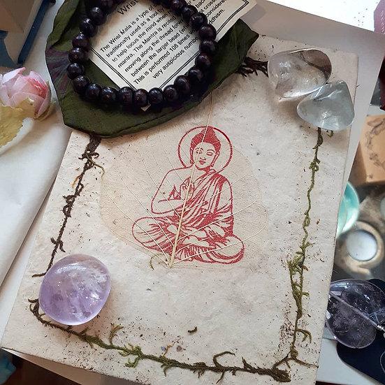 Handmade Paper Bodi Leaf Buddha Notebook and Wrist Mala