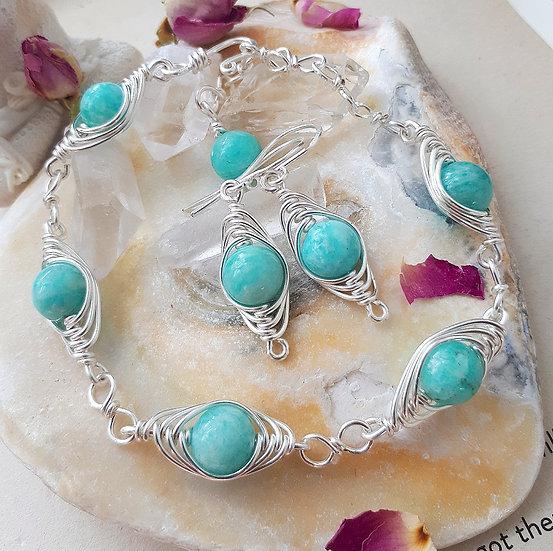 Amazonite Herringbone Weave Bracelet and Earring Set