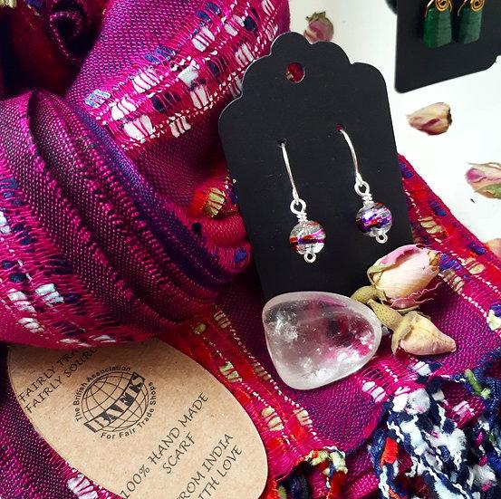 Fuchsia Scarf and Earring Set