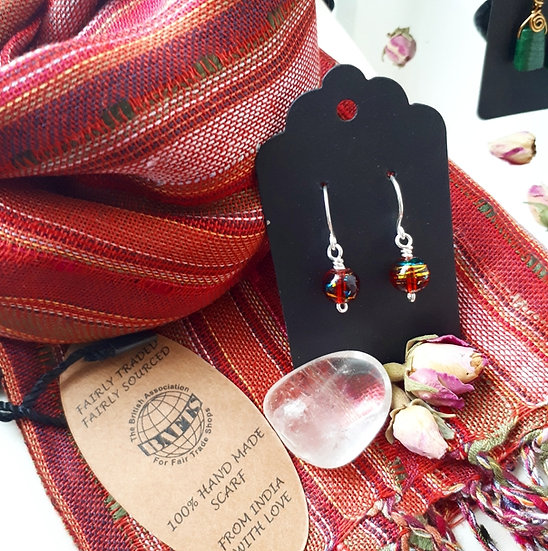 Red Scarf and Earring Set