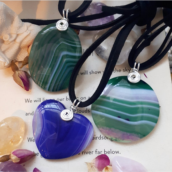 Banded Agate Pendants in filled silver