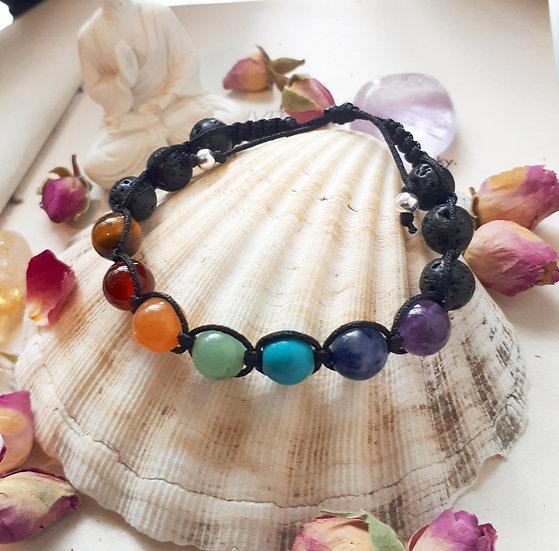 Chakra Bracelet with Lava Beads