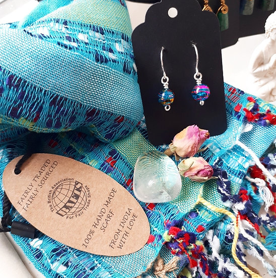 Turquoise Blue Scarf and Earring Set